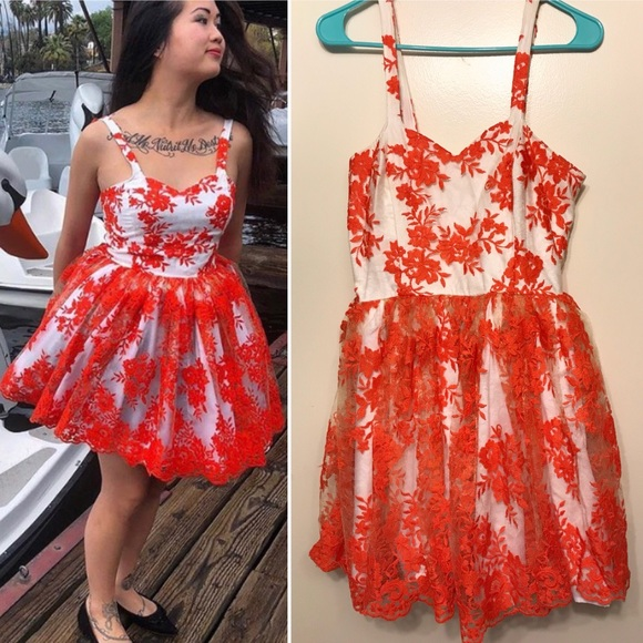f6476ef7d30 Dresses   Skirts - Orange   White Embroidered Vintage Inspired Dress
